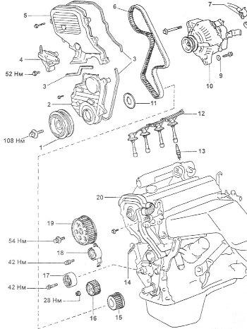ГРМ механизм, ремень ГРМ.  Схема ГРМ механизма тойота 3SFE.